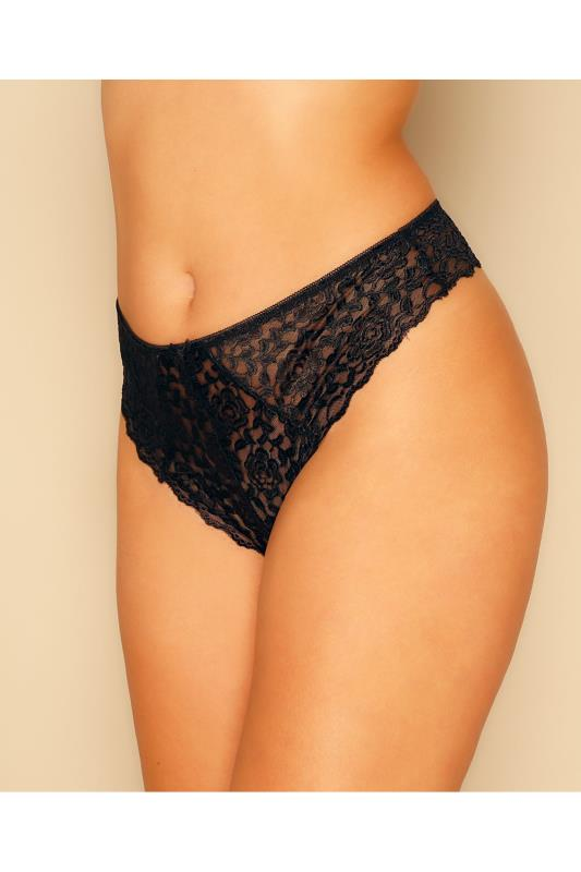 Black Lace Thong With Bow Detail