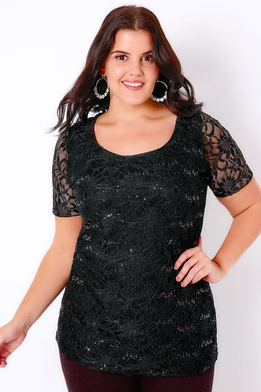 Black Lace Top With Sequin Sparkle Detail