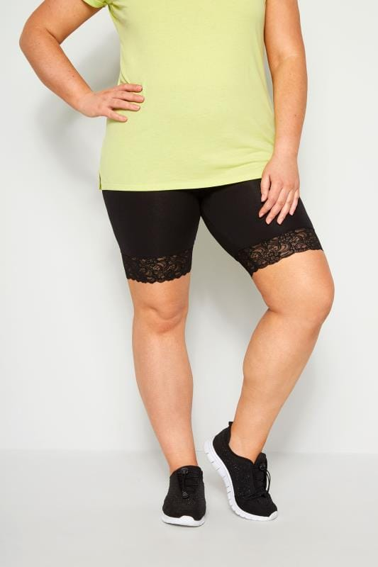 Plus Size Jersey Shorts Black Lace Trim Shorts
