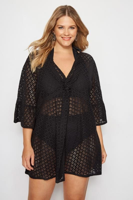 Plus Size Kaftans & Cover Ups Black Lace Twist Front Cover Up