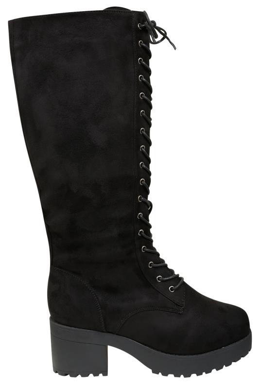 Black Knee High Lace Up Heeled Boot In EEE Fit