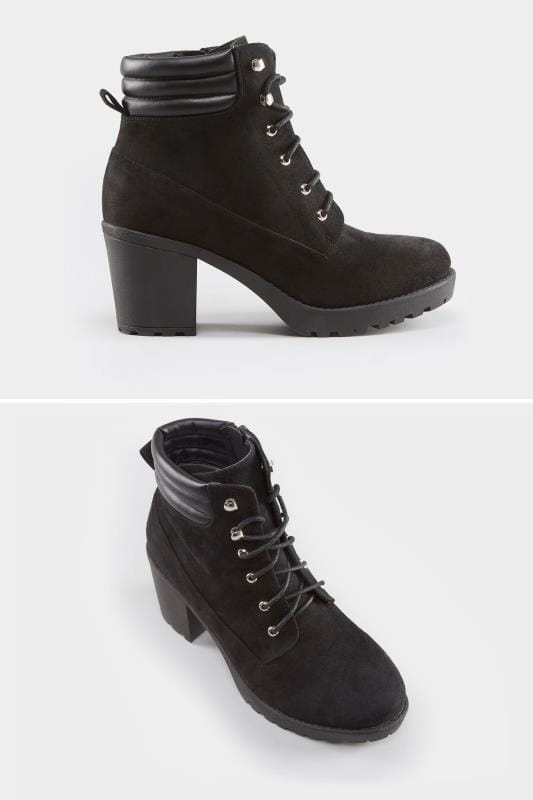 Wide Fit Boots Black Lace Up Heeled Ankle Boot In EEE Fit