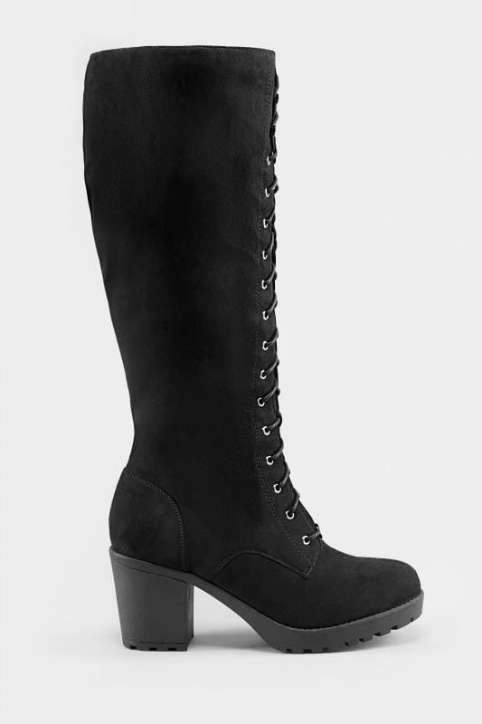 Black Lace Up Heeled Knee High Boots In EEE Fit