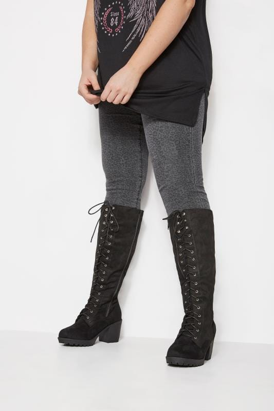 Plus Size Boots Black Lace Up Heeled Knee High Boots In EEE Fit