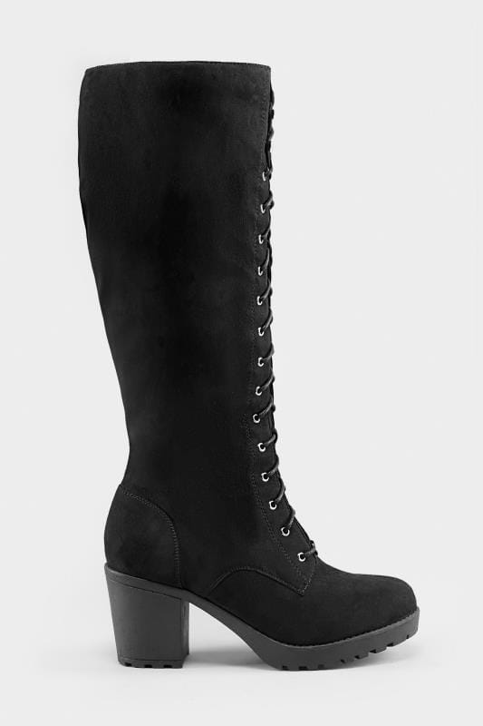 b083a30eec8 Wide Fit Boots Black Lace Up Heeled Knee High Boots In EEE Fit