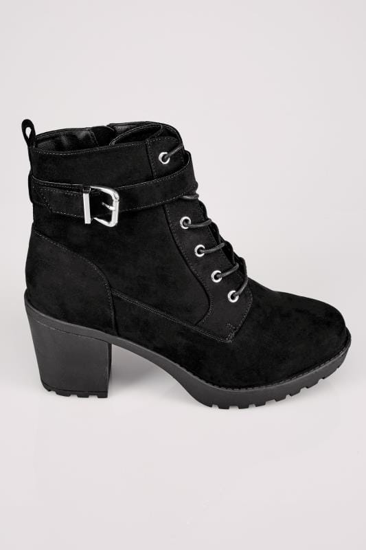 Black Lace Up Heeled Ankle Boot In EEE Fit