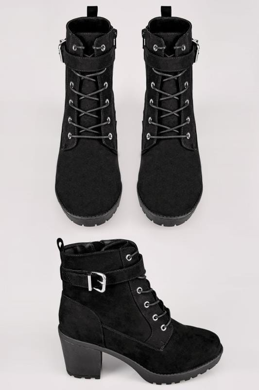 Wide Fit Ankle Boots Black Lace Up Heeled Platform Ankle Boot With Buckle Detail In TRUE EEE Fit