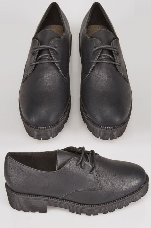 Black Lace Up Shoes With Chunky Soles In EEE Fit