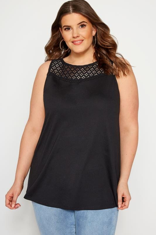 Plus Size Vests & Camis Black Lace Vest