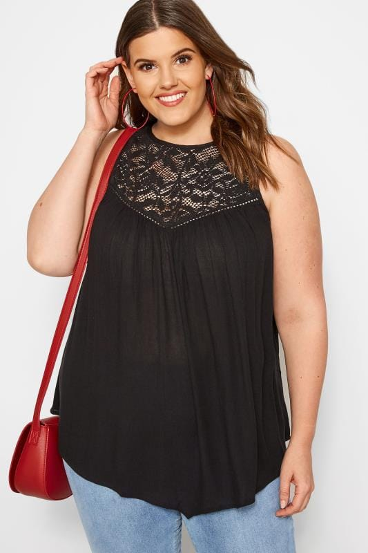 Plus Size Vests & Camis Black Lace Vest Top