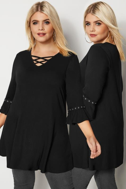 Plus Size Jersey Tops Black Lattice Front Top With Eyelet Flute Sleeves