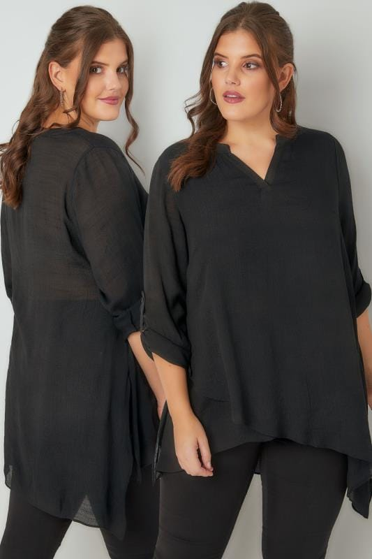 Black Layered Blouse With Notch Neck & Dipped Hem