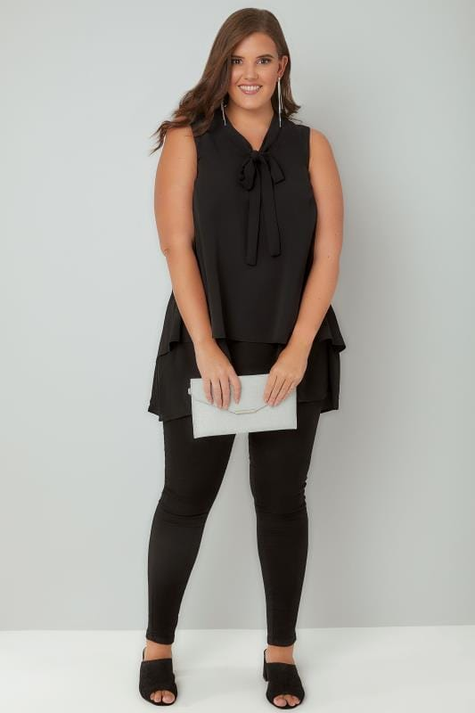Black Layered Blouse With Pussy Bow Tie, Plus size 16 to 36