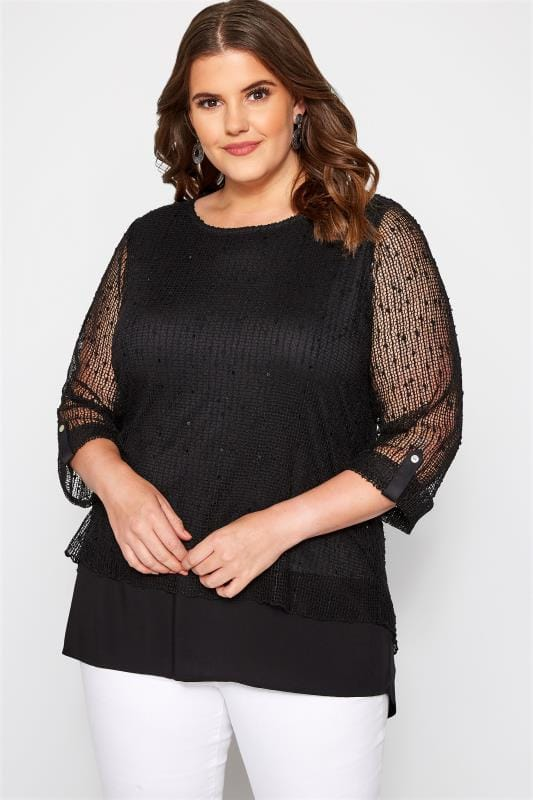Plus Size Day Tops Black Layered Crochet Top