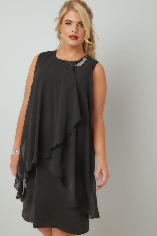 Black Layered Front Dress With Detachable Diamante Trim