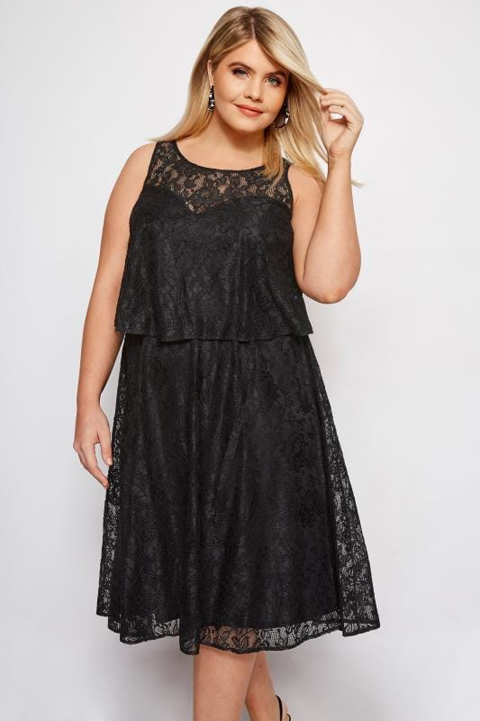 1fa6fe88fe9 Plus Size Evening Dresses Black Layered Lace Dress
