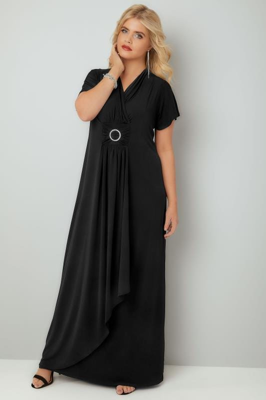 Plus Size Evening Dresses YOURS LONDON Black Layered Maxi Dress With Ring Detail