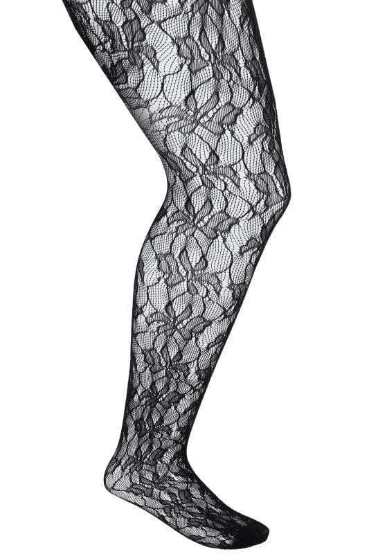 Black Orchid Leaf Patterned Lace Tights