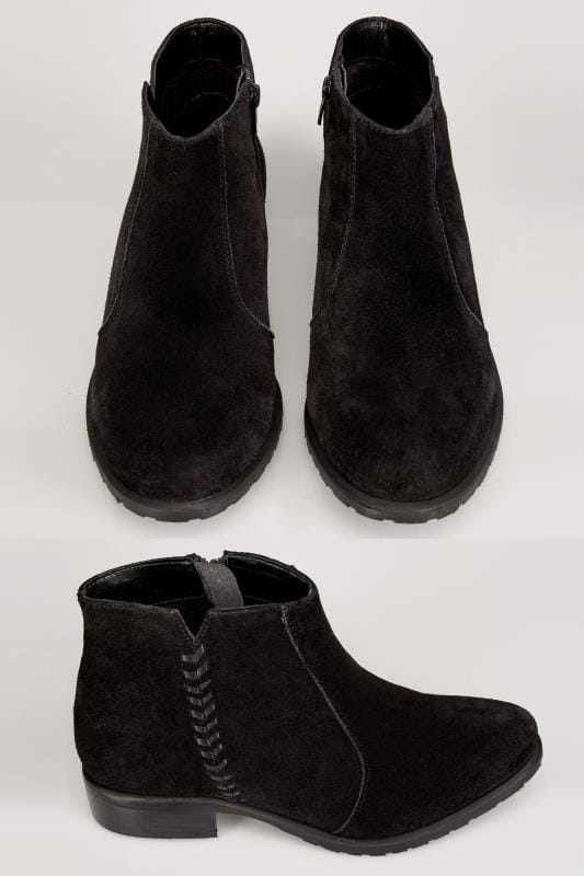 Wide Fit Ankle Boots Black Suede Leather Ankle Boot With Whipstitch Side Detail In TRUE EEE Fit