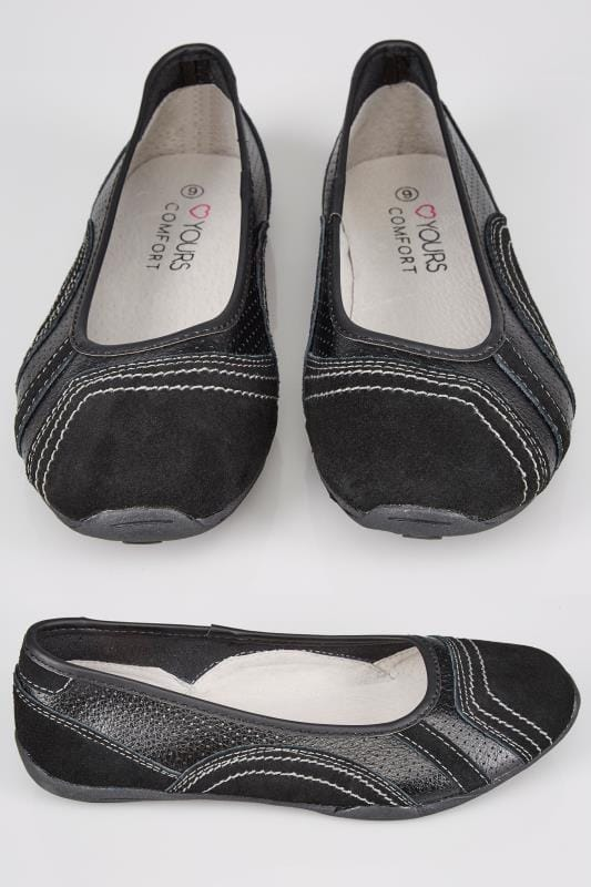 Wide Fit Flat Shoes Black Leather Mix Punch Slip On Shoe In TRUE EEE Fit