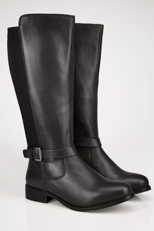 Black LEATHER XL Calf Riding Boots With Stretch Panels & Buckle Details In TRUE EEE Fit