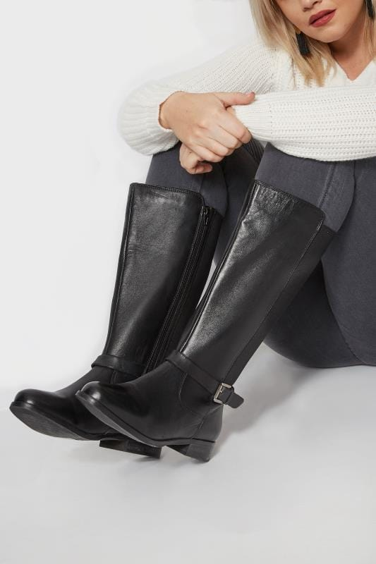 Black Leather Riding Boots With Stretch Panels In EEE Fit