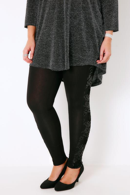 Black Leggings With Lace & Sequin Panel