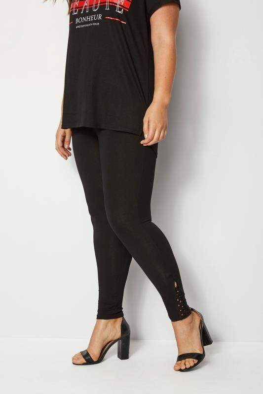 Black Leggings With Lattice Hem