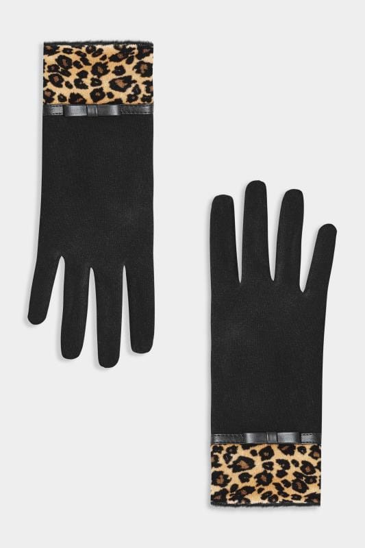 Plus Size Gloves Black Leopard Print Gloves