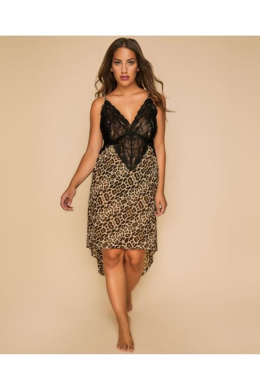 Nightdresses & Chemises YOURS LONDON Black Leopard Print Lace Chemise With Dipped Hem 156162