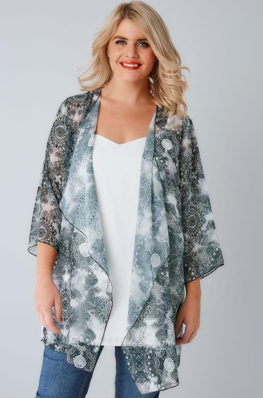 Black & Light Mint Circle Tile Print Chiffon Kimono With Waterfall Front