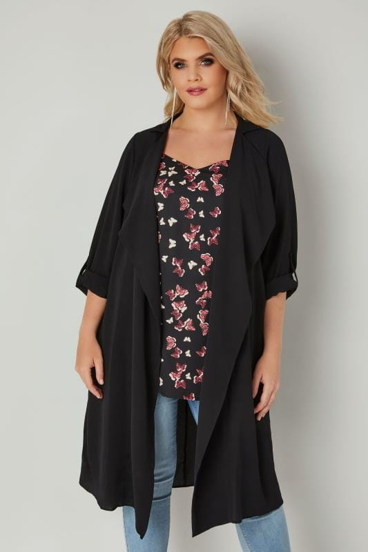 Plus Size Jackets Black Lightweight Duster Jacket With Waterfall Front