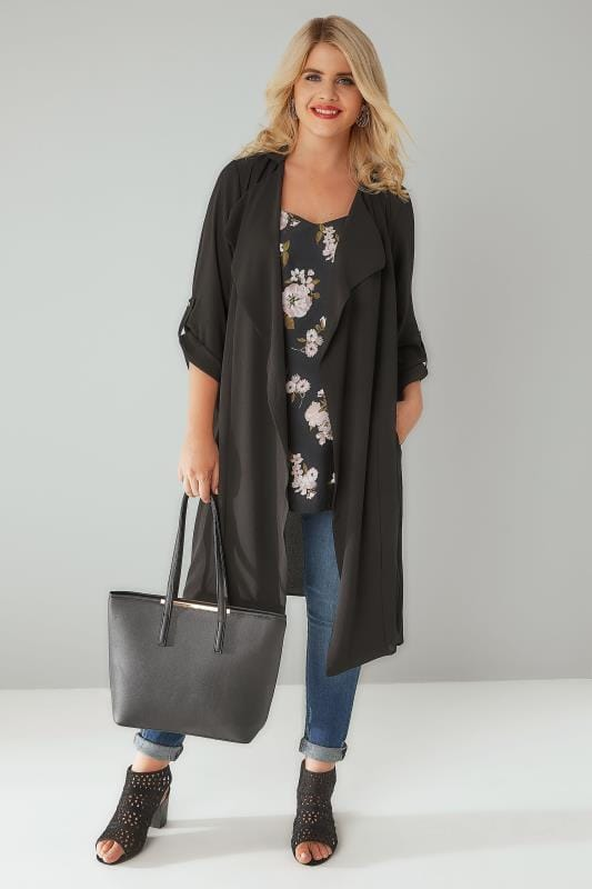 Black Lightweight Duster Jacket With Waterfall Front ...