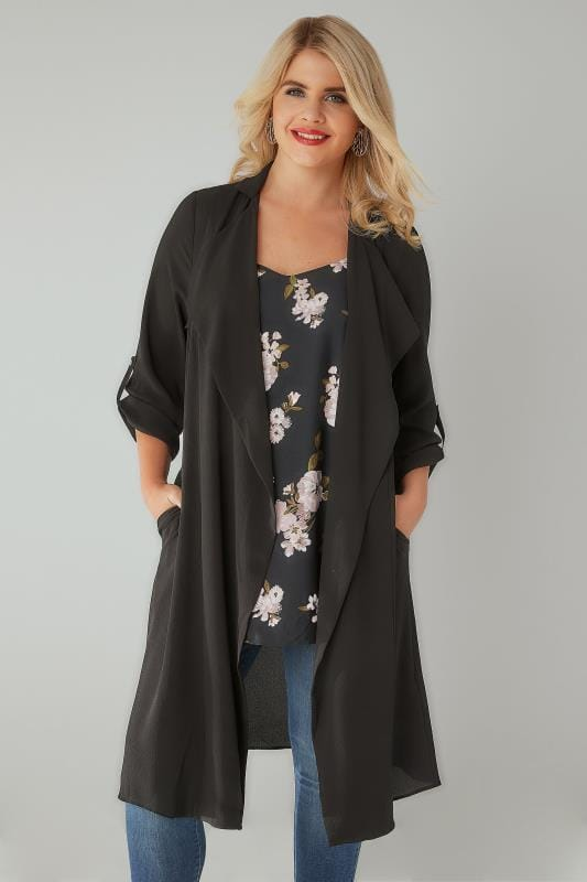 Black Lightweight Duster Jacket With Waterfall Front & Roll-Up Sleeves
