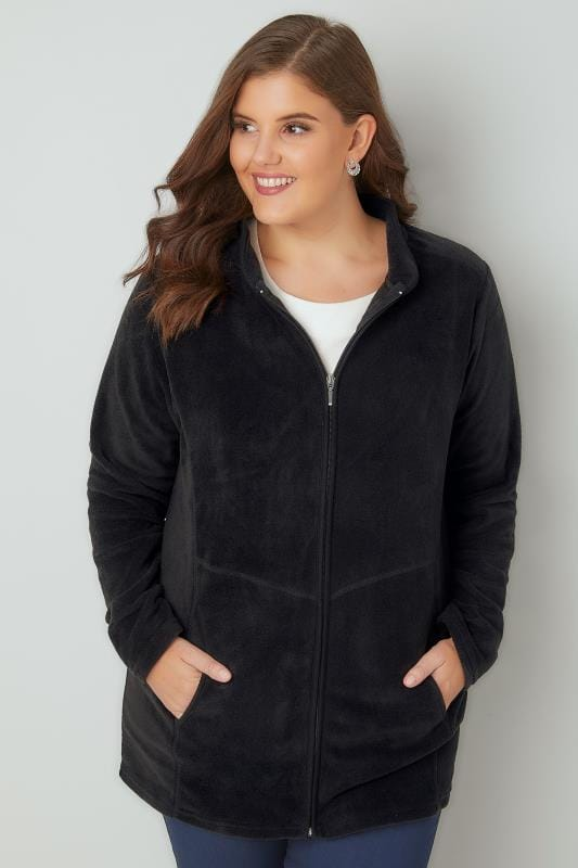 Plus Size Fleeces Black Lightweight Zip Through Fleece