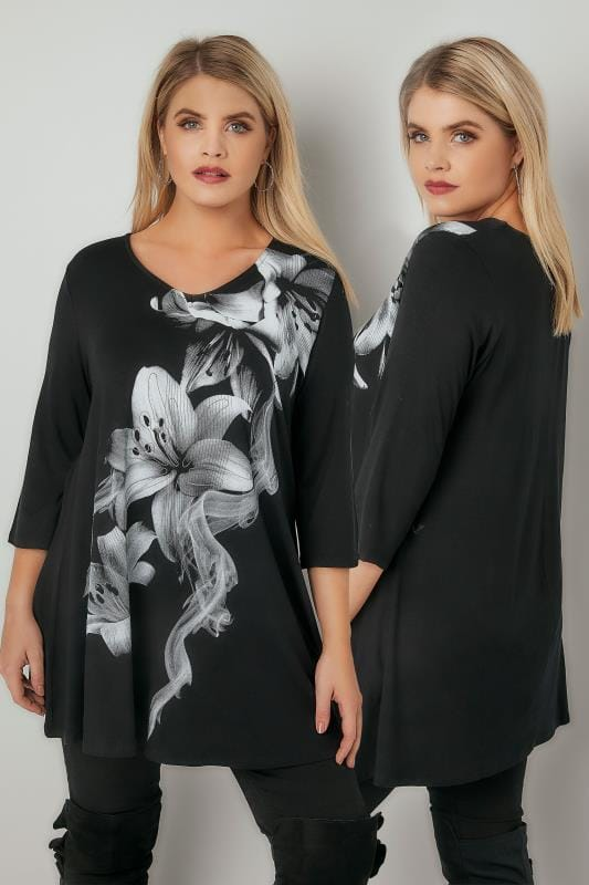 Smart Jersey Tops Black Lily Print Bead Embellished Longline Swing Top 134278