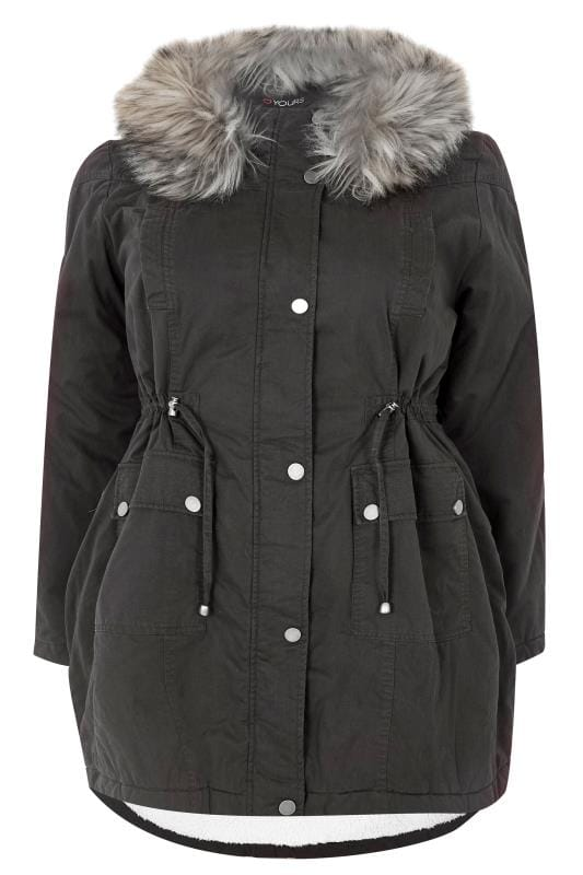 Plus Size Parka Coats Black Lined Parka With Faux Fur Trim Hood