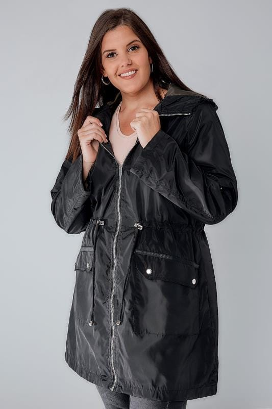 Black Lined Parka With Hood