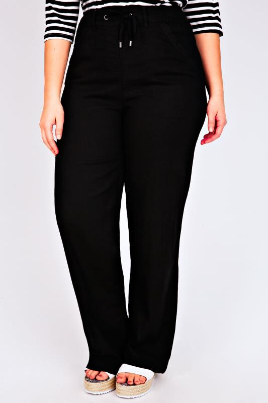 "Linen Mix Trousers Black Linen Mix Full Length Trousers With Four Pockets 30"" 051071"