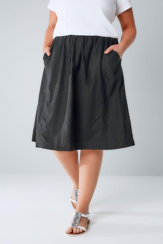 Black Linen Mix Midi Skirt