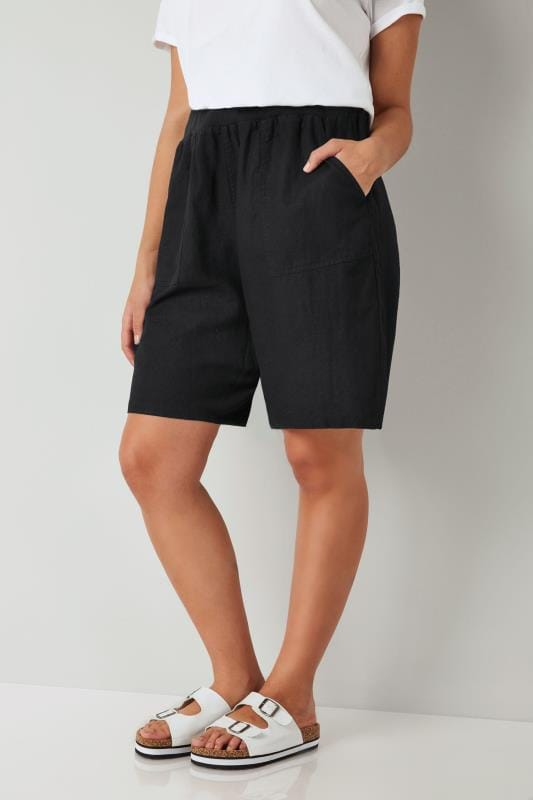 Black Linen Mix Pull On Shorts