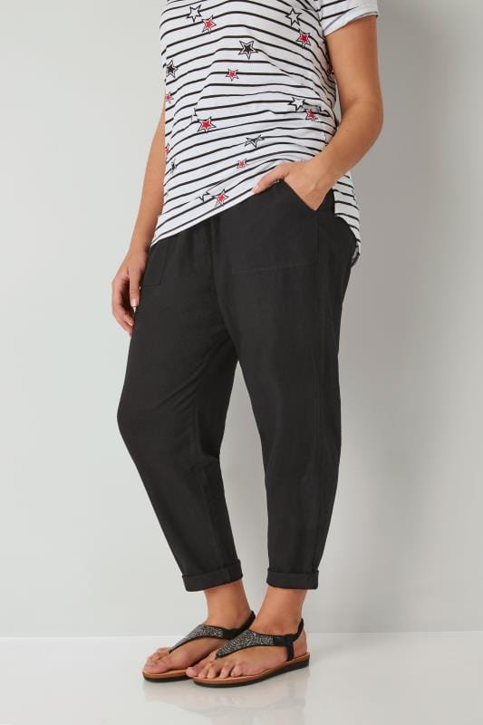 Plus Size Tapered & Slim Fit Trousers Black Linen Mix Pull On Tapered Trousers