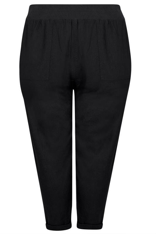 Grote maten slim fit & tapered broeken Black Linen Mix Pull On Tapered Trousers With Pockets 142174
