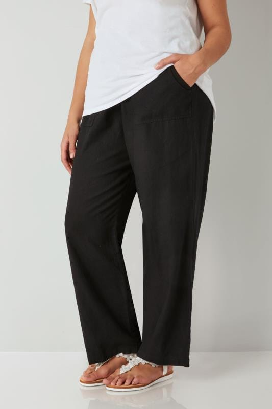 Plus Size Wide Leg & Palazzo Trousers Black Linen Mix Pull On Wide Leg Trousers