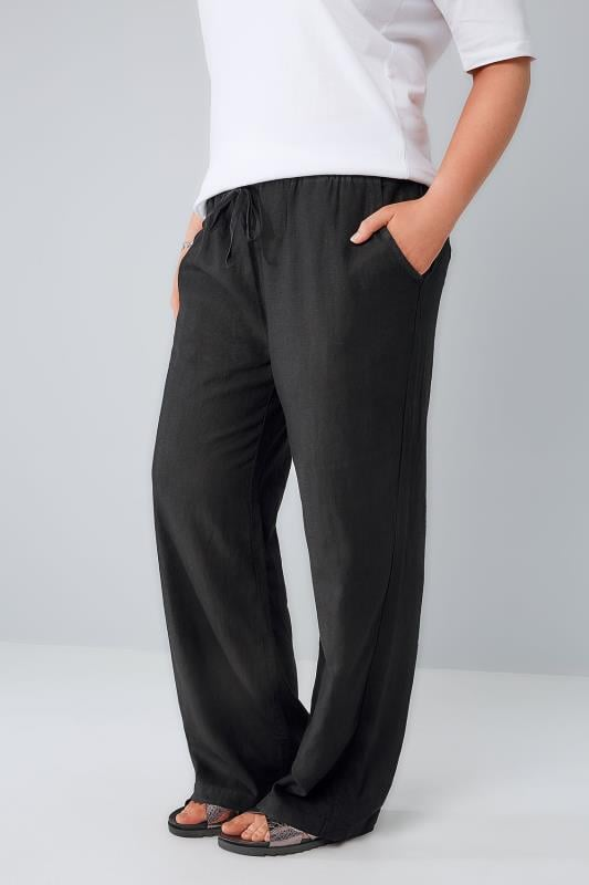 Grote maten linnen broeken Black Linen Mix Pull On Wide Leg Trousers With Pockets 142000