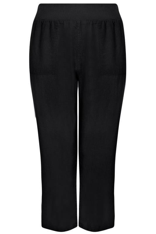 Grote maten palazzo broeken Black Linen Mix Pull On Wide Leg Trousers With Pockets 142170