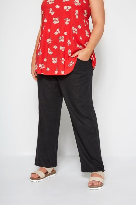Plus Size Linen Mix Pants Black Linen Mix Wide Leg Trousers