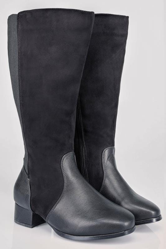 Black Contrast Wide Calf Boots With Block Heel & Stretch Panel In EEE Fit