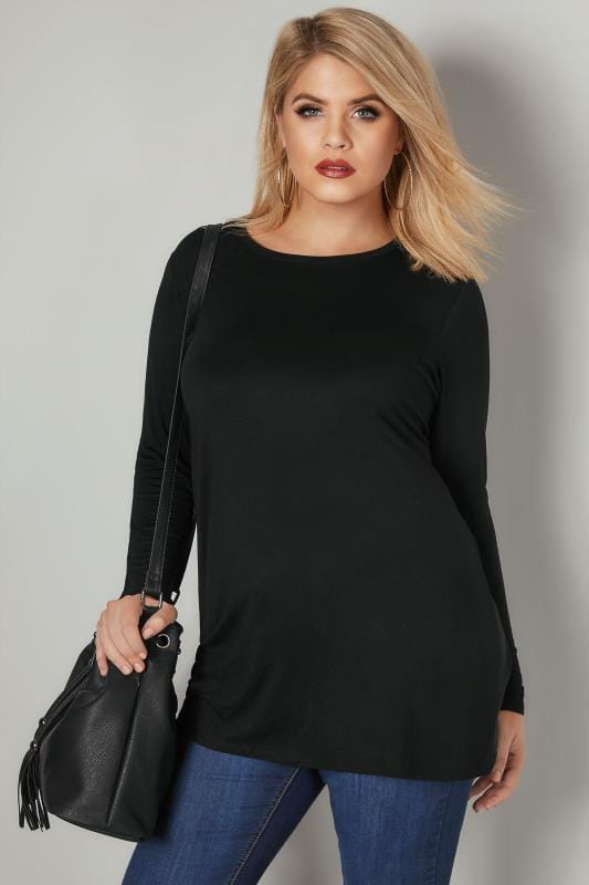 Plus Size Jersey Tops Black Long Sleeve Soft Touch Jersey Top