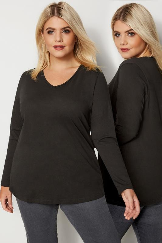 Plus Size Basic T-Shirts & Vests Black Long Sleeved V-Neck Jersey Top